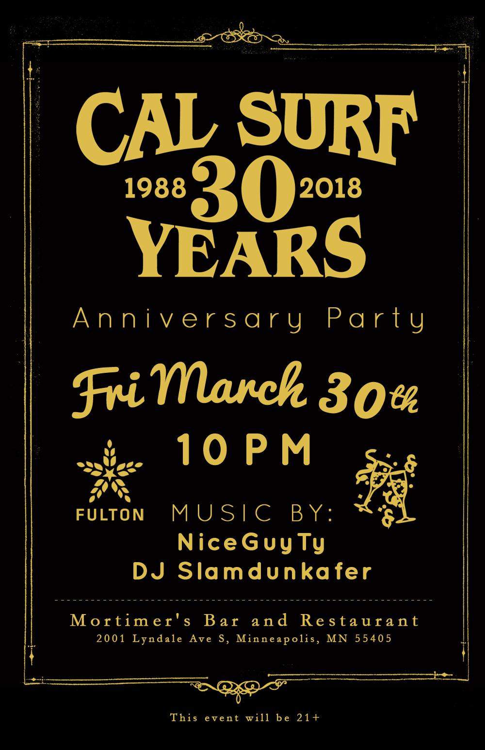 Cal Surf 30 year anniversary